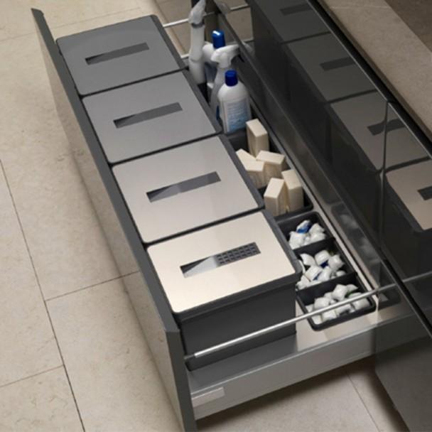 Cubos Reciclagem de Lixo de Aço Inoxidável para Gaveta Cozinha