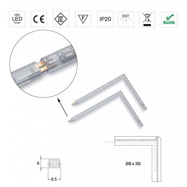 Ângulo 28x32mm Luzes do diodo Emissor de luz 12V 0,2 W 5500K Strip Rígida