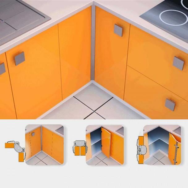 Dobradiça Rincomatic RincoPlus40 para Móveis Canto da Cozinha