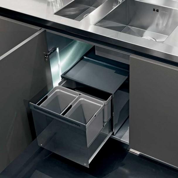 Cubos Reciclagem de Lixo de Aço Inoxidável para Armário de Cozinha